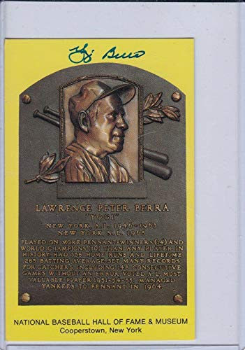 Authentic Signed Yogi Berra Auto Hall Of Fame Plaque Card - JSA Certified - MLB Autographed Baseball Cards