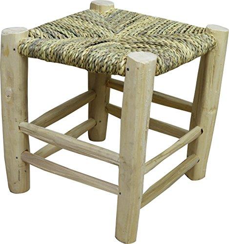 Casa Andaluz Taburete artesanal echo de cuerda y mimbre natural madera de laurel - Ancho 32 Longitud 32 Altura 4