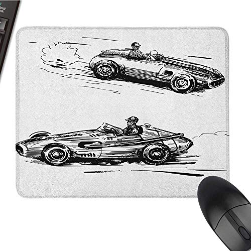 pad for Mouse Cars,Vintage Racing Cars Hand Drawn Style Collection Nostalgic Automobile Sketch Artwork, Black White Nonslip Rubber Base 15.7 x23.6 INCH ()