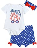 3PCS Baby Girls' Outfit Set Star Flag with Headband (6-12 Months) White