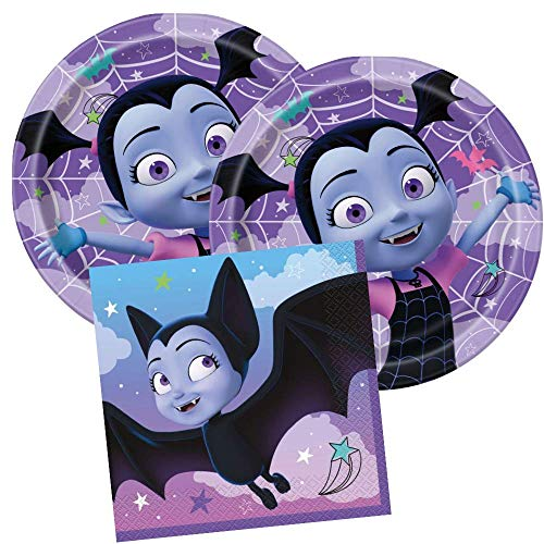 Vampirina Girls Birthday Party Tableware Supply Set Includes 16 Dinner Plates and 16 Lunch Napkins, 2 Ply