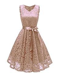 RQH Women 50s Floral Lace Short Bridesmaid Party Dresses, V Neck Prom Dress
