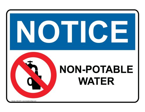 ComplianceSigns Vinyl OSHA NOTICE Label, 5 x 3.5 in. with Drinking Water Info in English, 4-pack White - Drinking Water Sign
