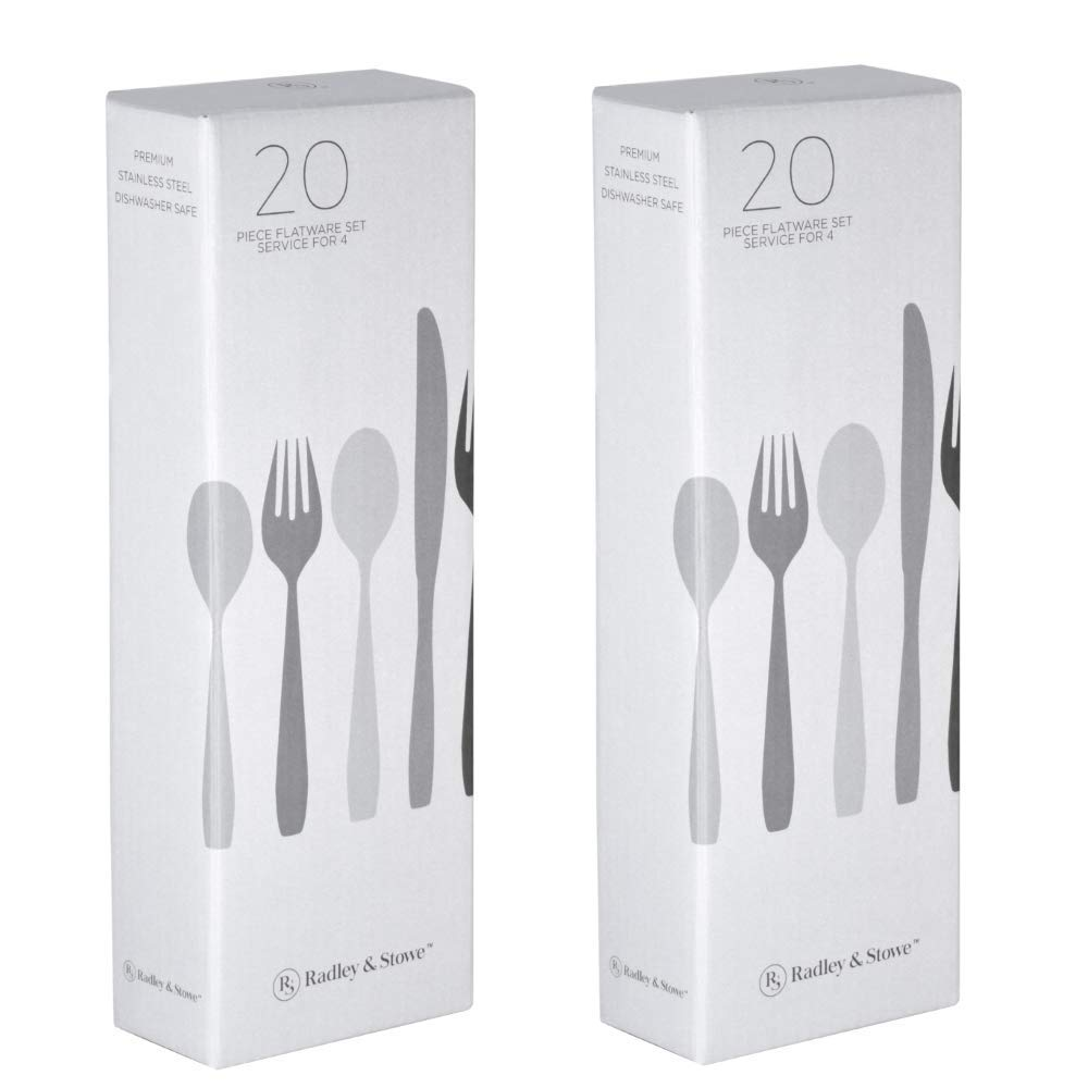 Radley & Stowe 20-Piece Flatware Solid Stainless Steel Silverware Set (Designer Grade with Matte Finish Handle) (8-Set (40-piece))