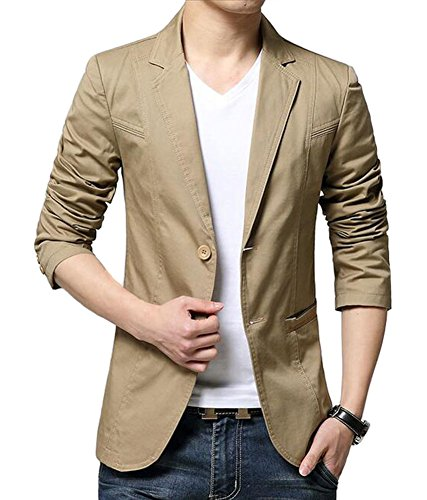 Mens Slim Fit Single Breasted Peaked Lapel 2 Buttons Jacket Blazer (US Medium = Tag XXL, Khaki) (Peaked Lapel Jacket)