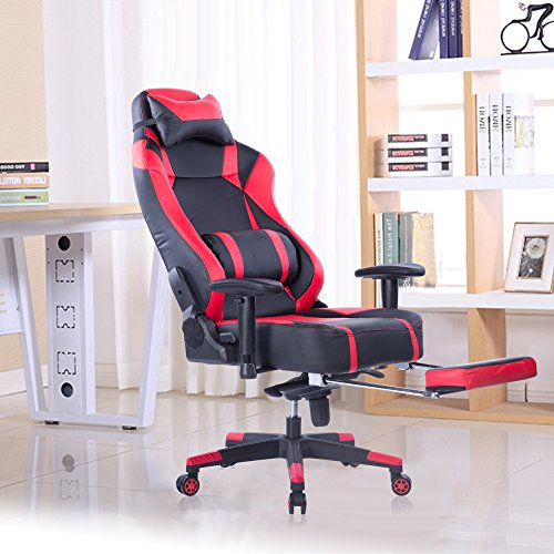von racer big and tall gaming chair with footrest adjustable tilt back angle and 2d arms. Black Bedroom Furniture Sets. Home Design Ideas