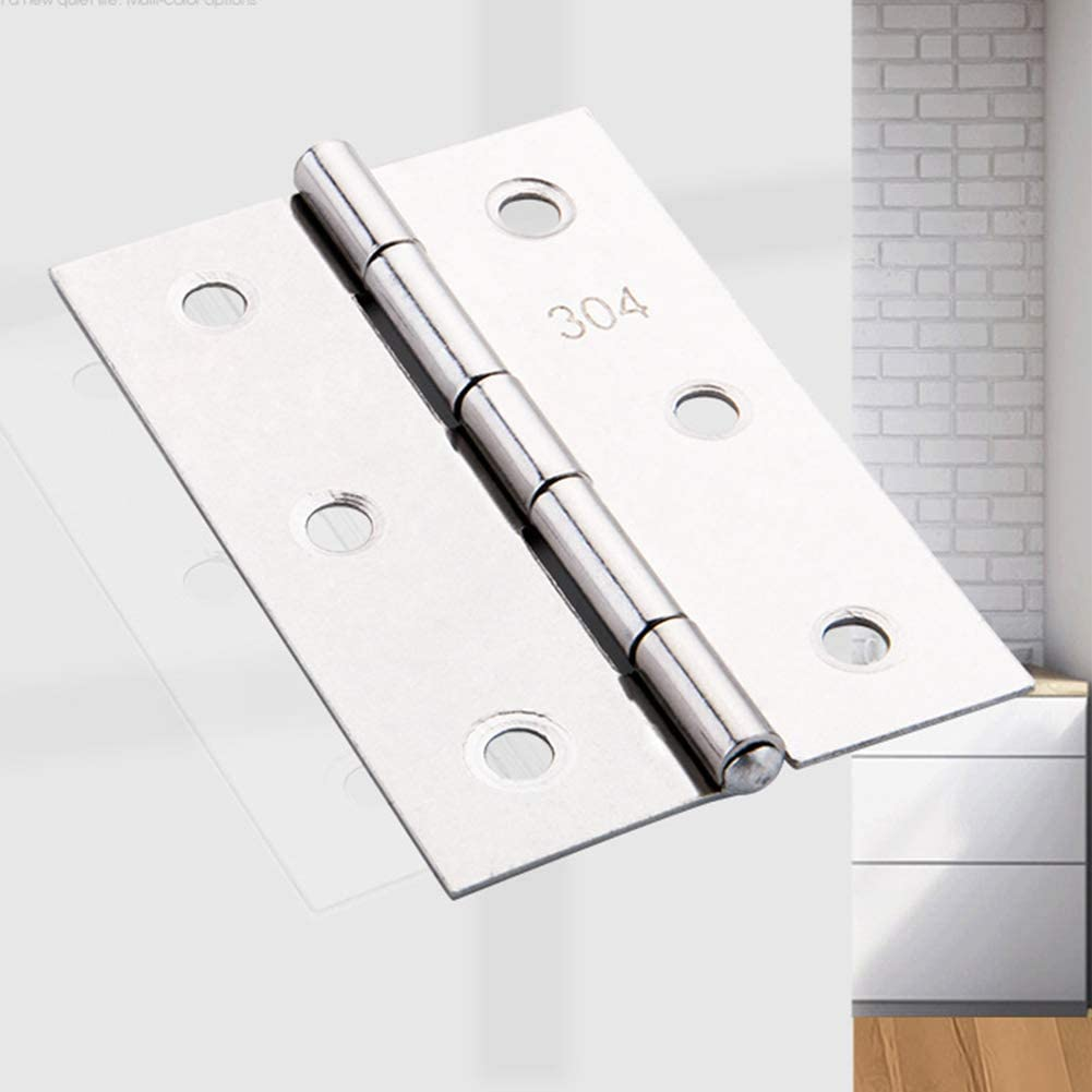 10Pcs Ball Bearing Door Hinge 3 Inch Folding Butt Hinges 75mm Stainless Steel Cabinet Hinges with 64pcs Screws for Home Furniture Wood Gate,75 x 50mm L*W