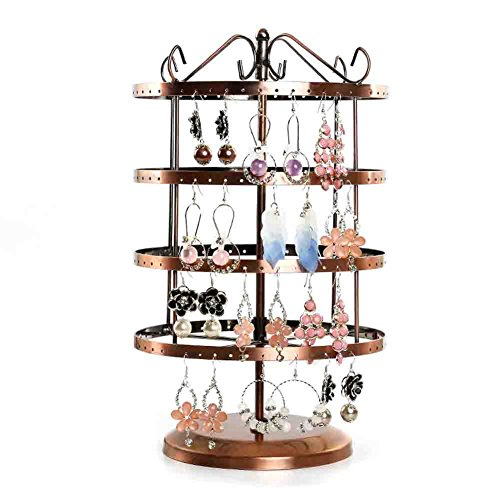 Botitu Earring Tree, 13 inch Tall Jewelry Holder with 192 Hooks and 4 Tiers Revolving Earring Organizer for Girls and Women Jewelry Display, Perfect for Dresser and Showcase Necklace Stand (Circle)