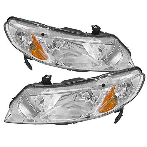 Carpartsinnovate Fit 06-11 Civic Sedan 4Dr Si EX LX DX GX Hybrid Chrome Head Lights Lamps+Amber