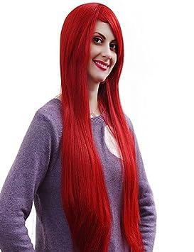 nueva cosplay peluca sintética roja de calidad superior recta larga oscura , red: Amazon.es: Deportes y aire libre