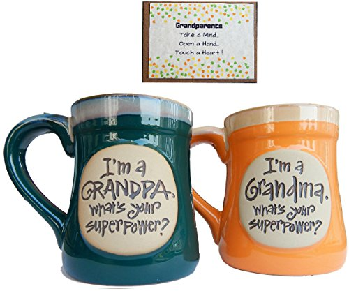 (Grandparents Coffee Cup Novelty Gift from Grandchild for Grandma and Grandpa Couples Superpower)