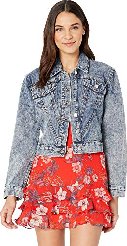 Studded Acid Wash - Juicy Couture Women's Acid Wash Studded Denim Jacket Beverly Acid Wash Small