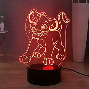 Laysinly Cartoon The Lion King USB Remote 3D LED Night Light, Cute Simba Child Table Lamp, Baby Bedroom Sleeping Desk…