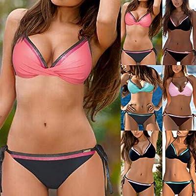 Gibobby Bikinis for Women Plus Size Women's High Waisted Bandage Bikini Set Wrap Two Piece Push Up Swimsuits: Clothing