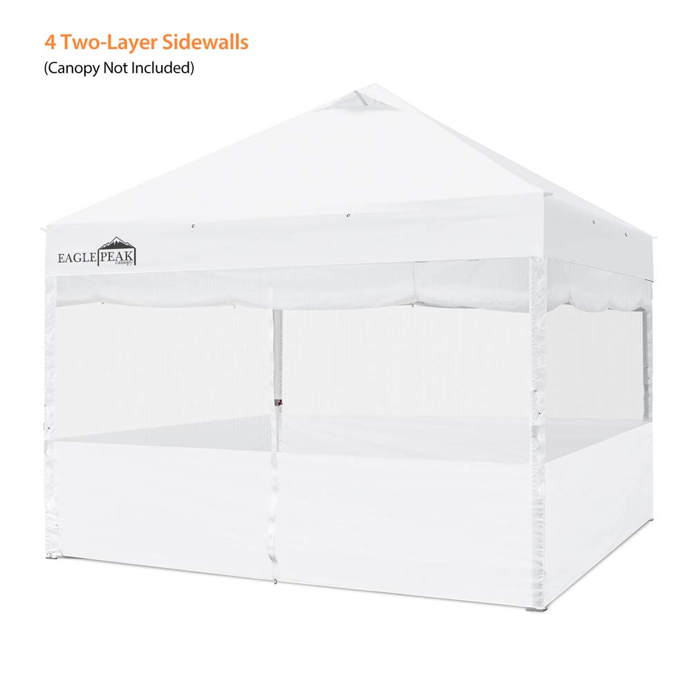 EAGLE PEAK Full Sidewall Accessory Kit for 10 x10 Commercial Canopy, 4 Two-Layer Removable Zipper End Sidewalls, Raiseable Inner Solid Sidewalls, Outer Sidewalls with Mesh Windows, Zipper Entry Front