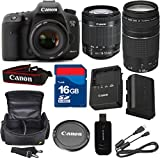 Canon 7D Mark II Digital SLR Camera with EF-S 18-55mm f/3.5-5.6 IS STM Lens + For 75-300mm III Zoom + High Speed 16GB Memory Card + High Speed Reader + 6pc Bundle - International Version