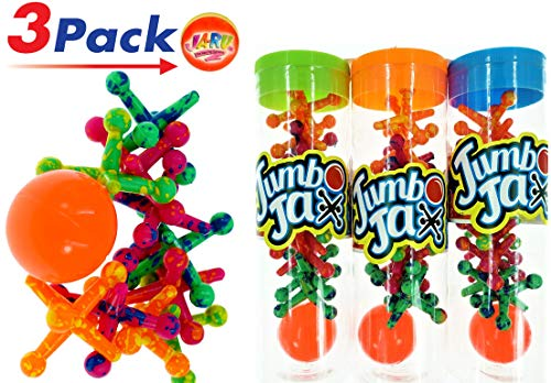 JA-RU Big Jax Toy with Carry Case (3 Packs) Jacks. Comes with 1 collectable Bouncy Ball   Item - Jumbo Jacks