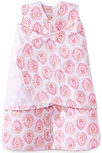 Halo Micro Fleece Sleepsack Swaddle Wearable Blanket, Pink Floral Medallions, Small