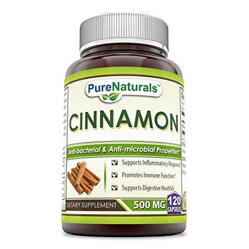 Pure Naturals Cinnamon Dietary Supplement - 500 mg, 120 Capsules - Anti-Bacterial & Anti-Microbial Properties *
