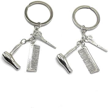 lehao Fashion Hairdresser Keychain Hair Dryer,Comb Charm Pendant Keychain Perfect Salon or Hair Stylist Gift,Gold