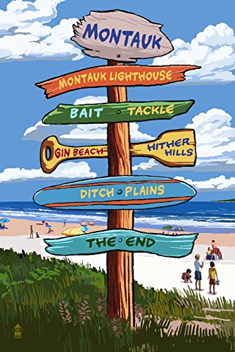 Montauk, New York - Destination Signpost (24x36 SIGNED Print Master Giclee Print w/ Certificate of Authenticity - Wall Decor Travel Poster) (Post New York Standard)