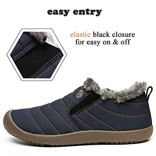 Waterproof Booties low Fur Women Blue Boots Winter Slip Snow Outdoor Men Lined Lightweight On SITAILE Top Slippers Ankle qaxw76AfE