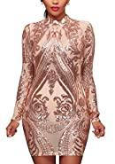 MS Mouse Womens Long Sleeve Sequins Evening Cocktail Bodycon Mini Dress