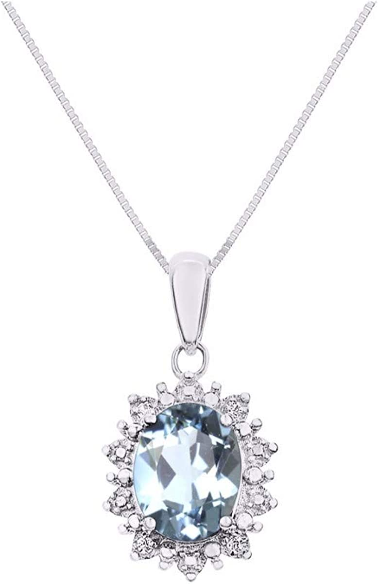 RYLOS Princess Diana Inspired Halo Pendant with Oval Shape Gemstone /& Genuine Sparkling Diamonds in Sterling Silver .925-9X7MM Color Stone Birthstone Necklace With 18 Chain