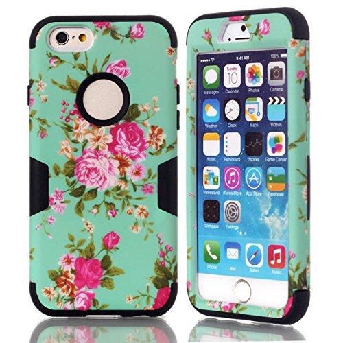 iPhone 6s hülle, iPhone 6 hülle, Lantier Hybrid Heavy Duty Rugged Hard Case mit harter PC + Innen Silikon Shell Shockproof Abdeckung für Apple iPhone 6 / 6S 4,7 Zoll (Blumen-Schwarz)