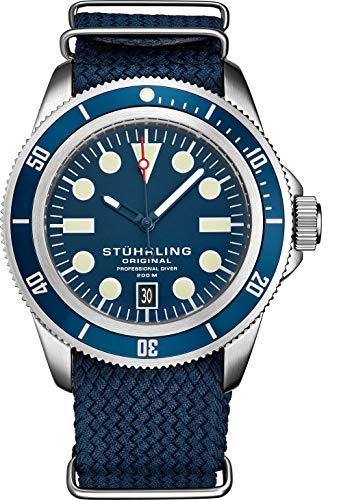 Stuhrling Original Watches for Men -Dive Watch - Sports Watch for Men with Screw Down Crown for Water Resistant to 200M - Blue Nylon Analog Watch Japanese Quartz Watch Movement -Mens Watches