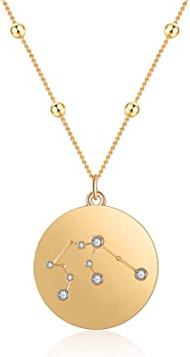 Virgo My Prime Gifts Silver Plated Constellation Crystal Zodiac Necklace 16 Inch Link Chain Necklace with 2 Inch Extender