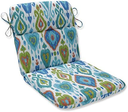 Pillow Perfect Outdoor Indoor Paso Caribe Round Corner Chair Cushion, 40.5 x 21 , Blue