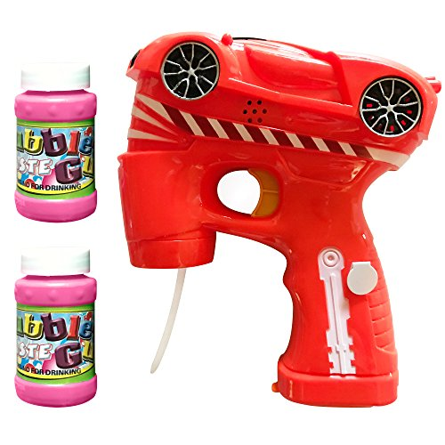 LilPals Amazing Cool CAR Bubble Gun Shooter – Bubble Blaster Features Light, Sound & 3 PRE-Filled Bubble Solution CARTRIDGES for Kids 3 Years Old and UP -