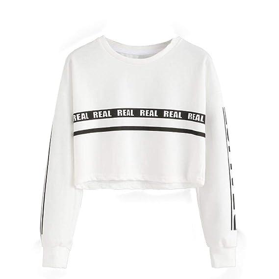 Bestow Carta Impresa Su¨¦ter Flojo Moda de Las Mujeres Blanco Impresi¨®