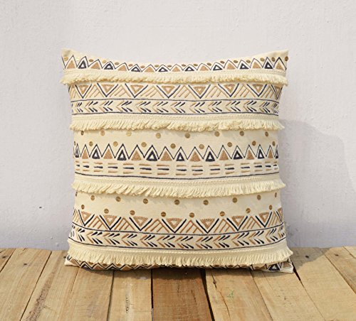 Cream Colour Pillow Cover Fringe lace Embroidered Moroccan Pillow Standard Size Available -