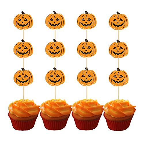 Amosfun 12pcs Pumpkin Cupcake Toppers Halloween Cake Decoration Toppers Jack O Lanterns Food Decoration Toppers]()