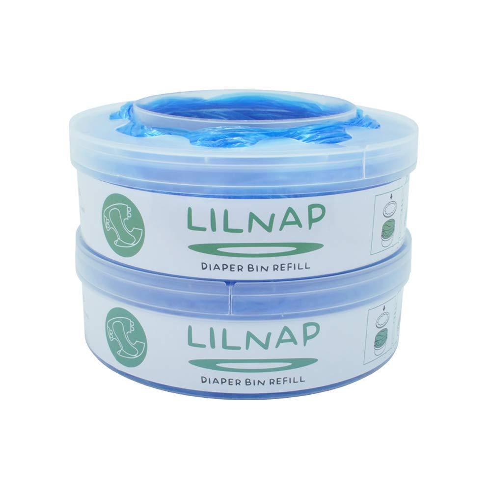 LILNAP - Recharges pour Poubelle à Couches Sangenic Tommee Tippee & Sangenic Tec | Film Antibactérien Multicouche avec Traitement EVOH Anti-odeurs (2 recharges)