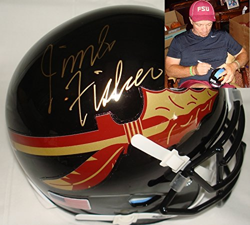 Jimbo Fisher Hand Signed / Autographed Black Florida State Seminoles Mini Foo...