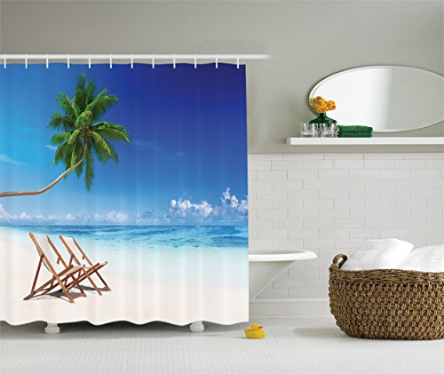 Havana Living Room Set (Ambesonne Coastal Decor Collection, Havana Paradise Beach Exoticism Travel Locations Morning Sunshine Tropical Climate Picture, Polyester Fabric Bathroom Shower Curtain, Green Ivory)