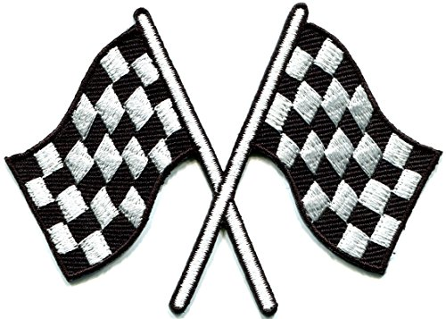 Iron On Patch Instructions - Checkered flag chequered auto car racing rockabilly applique iron-on patch