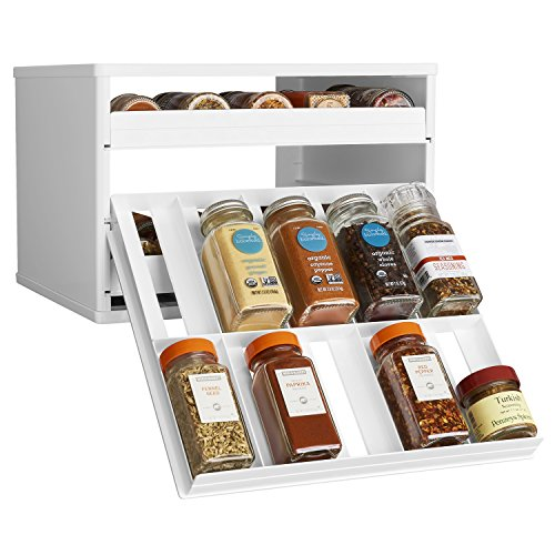 YouCopia Chef's Edition SpiceStack 30-Bottle Spice Organizer with Universal Drawers, White (Spice Cabinet Organizer)
