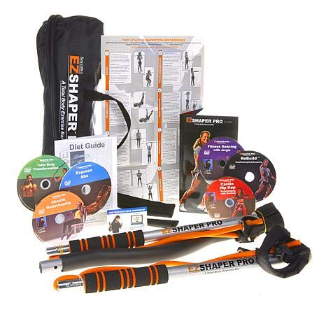 Tony Little EZSHAPER PRO - Total Body Workout Exercise Bar -with 6 Personal Trainer Workout DVDs - 2 Sets of Resistance Bands (Best Six Pack Workout)
