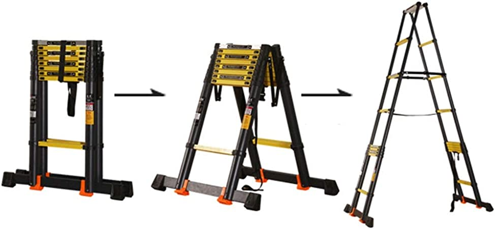 Escalera extensible/ Escalera telescópica Los escalones anchos de la escalera Loft EN131 de aluminio, escaleras retráctiles profesionales portátiles cortas, áticos de las escaleras de los tejados de l: Amazon.es: Hogar