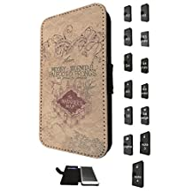 446 - Harry Potter Inspired The Marauder's Map Design Fashion Trend Credit Card Holder Purse Wallet Book Style Tpu Leather Flip Pouch Case Samsung Galaxy S5 i9600