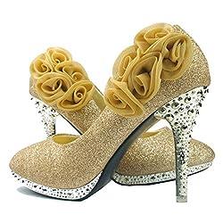 Women's Rose Flower Crystal Glitter Wedding Shoes