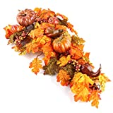 Factory Direct Craft 30'' Premade Artificial Gourd and Pumpkin Teardrop Wreath for Autumn, Fall and Thanksgiving Decorating