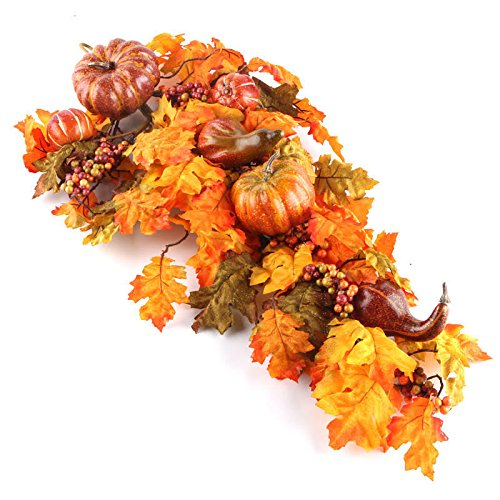 Factory Direct Craft 30'' Premade Artificial Gourd and Pumpkin Teardrop Wreath for Autumn, Fall and Thanksgiving Decorating by Factory Direct Craft