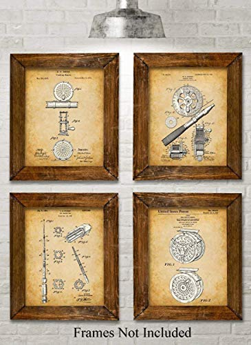 Art Fishing Fly (Original Fly Fishing Rods and Reels Patent Art Prints - Set of Four Photos (8x10) Unframed - Great Gift for Fly Fisherman, Cabin or Lake House)