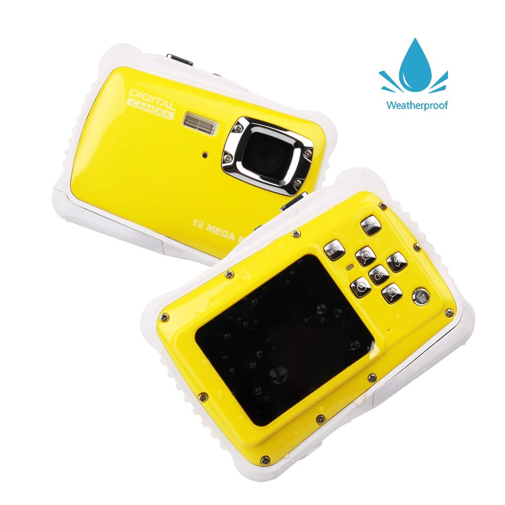 Smyidel Waterproof Mini Kid Camera High Definition 12MP HD 3M Underwater Swimming Digital Camera Camcorder 2.0 Inch LCD Display (Yellow) by Smyidel (Image #1)