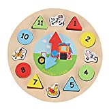 GYBBER&MUMU Wooden Clock Geometric Cartoon Animal Number Building Blocks Toy